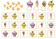 Counting Game for Preschool Children. Educational a mathematical game Stock Image