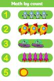 Counting Game for Preschool Children. Educational a mathematical game. Stock Images