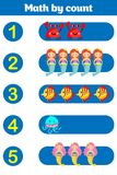 Counting Game for Preschool Children. Educational a mathematical game. Royalty Free Stock Photos