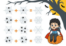 Counting Game for Preschool Children. Halloween characters, vamp Royalty Free Stock Photo