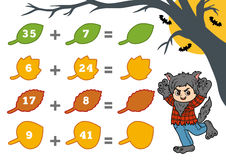 Counting Game for Preschool Children. Halloween characters Royalty Free Stock Photo