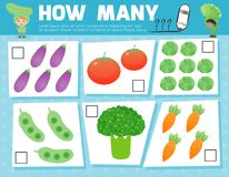 Counting Game for Preschool Children, Game for kids, Learning mathematics, Educational a mathematical game, How many. Objects on the picture, Counting game Royalty Free Stock Images