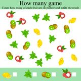 How many objects game. Counting Game for Preschool Children. Learning mathematics, numbers. Mathematics task, worksheet. Tasks for counting for preschool kids vector illustration