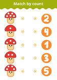 Counting Game for Preschool Children. Mushrooms Royalty Free Stock Images