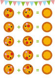 Counting Game for Preschool Children. Pizza. Counting Game for Preschool Children. Educational a mathematical game. Count the numbers in the picture and write Stock Image
