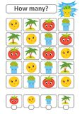 Counting game for preschool children. The study of mathematics. How many characters in the picture. Moon, palm, tomato, flower pot. With a place for answers Stock Photography