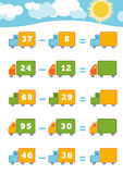 Counting Game for Preschool Children. Subtraction worksheets Stock Image