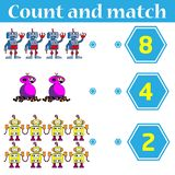 Counting game for preschool kids. Educational and mathematical game for children. Count and match - worksheet for kids royalty free illustration