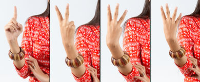 Counting Gesture Indian Woman Royalty Free Stock Image