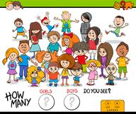 Counting girls and boys educational activity Stock Photos