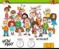Counting girls and boys educational game. Cartoon Illustration of Educational Counting Task Game for Children with Girls and Boys Characters Group stock illustration