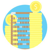 Counting gold and capital fund icon. Abacus and stock of coins. Vector illustration Royalty Free Stock Photos