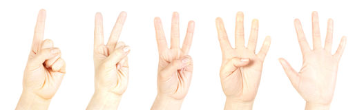 Counting hand. Hand counting from one to five on white Stock Image
