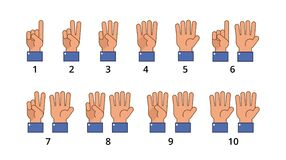 Counting hand. Countdown gestures, language number flat signs isolated. Countdown hand finger, number gesture of set vector illustration Royalty Free Stock Image