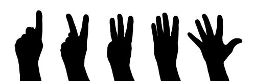 Counting hand - five. On white background Royalty Free Stock Photos