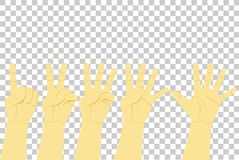 Counting Hand, One to Five at Transparent Effect Background. Vector Counting Hand, One to Five at Transparent Effect Background Royalty Free Stock Image