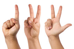 Counting Hand One Two Three Isolated. Front view of a set of right male hand with one , two and three fingers up counting isolated on white background royalty free stock image