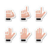 Counting hand signs as labels -  isolated. Counting cartoon hands signs as stickers set Stock Photo