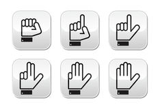 Counting hand signs -  buttons isolated on white. Counting cartoon hands signs on modern grey square buttons Stock Photography