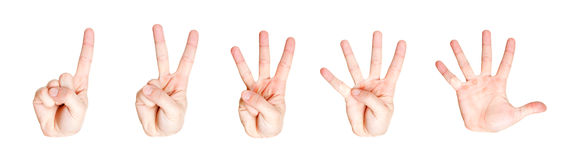 Counting hand signs from one to five Stock Photography