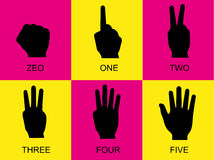 Counting hand signs, pink and yellow background, hand signs. Counting hand signs pink and yellow background hand signs Royalty Free Stock Photo