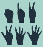 Vintage hand gesture. Counting hand in vintage style Royalty Free Stock Photography