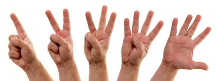 Counting Hands Number One to Five. A series of progressive hands count down one two three four five stock images