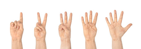 Counting hands (1 to 5) Royalty Free Stock Photography
