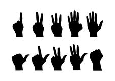 Counting hands from zero to nine on white background Stock Photo