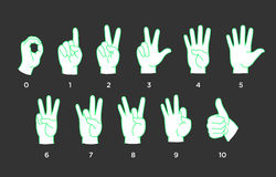 Counting Hands. From zero to ten, vector illustration Royalty Free Stock Image