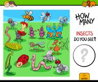 Counting insects and bugs educational game stock illustration