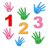 Counting Kids Shows One Two Three And Calculate Royalty Free Stock Images
