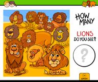 Counting lions animals educational game. Cartoon Illustration of Educational Counting Activity Game for Children with Lions Animal Characters vector illustration