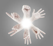 Counting man hands (0 to 5). Isolated on white background Royalty Free Stock Images