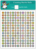 Counting Marble Balls 1. Illustration of counting marble balls full page Royalty Free Stock Photos