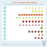 Counting and matching educational games kids, kids activity sheet. Learning math, exercises Stock Photo