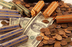 Counting money. A pile of different denominations of money royalty free stock image