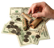 Counting Money. Coins, Dollars, Women, Hand, Counting, Money Rolls, Finance, Business stock photos