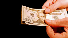 Counting money cash dollars bills in hands Royalty Free Stock Photography