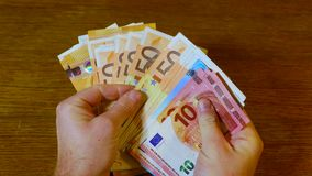 Counting money, Euro banknotes stock footage