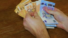 Counting money, Euro banknotes. Counting money in hand, Euro banknotes, good quality audio stock video footage
