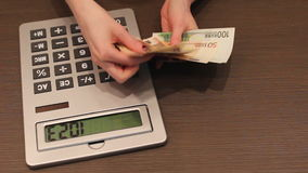 Counting money Euro stock footage