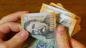 Counting money, Hungarian Forints stock video footage