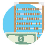 Counting money icon. Banking calculate budget, wealth dollar account, vector illustration Royalty Free Stock Photography
