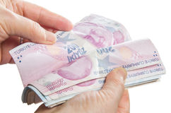 Counting Money - Turkish lira Stock Images