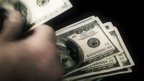 Counting Money - US $100 Dollar Bills stock footage