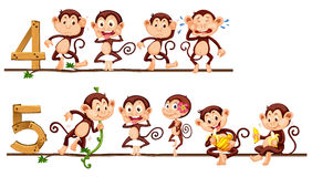 Counting number four and five with monkeys Royalty Free Stock Image