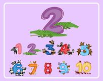 Counting number and other numbers with animals stock illustration