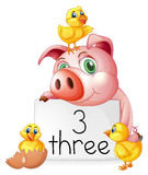 Counting number three with pig and chicks Stock Photo