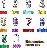Counting numbers from 0 to 9 one to nine. Counting numbers from 0 to 9 zero to nine with words, colors and dots illustration Royalty Free Stock Images